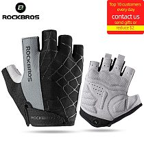 ROCKBROS Cycling Bike Gloves Half Finger Shockproof Breathable MTB Mountain Bicycle Sports Gloves Men Women Cycling Equipment