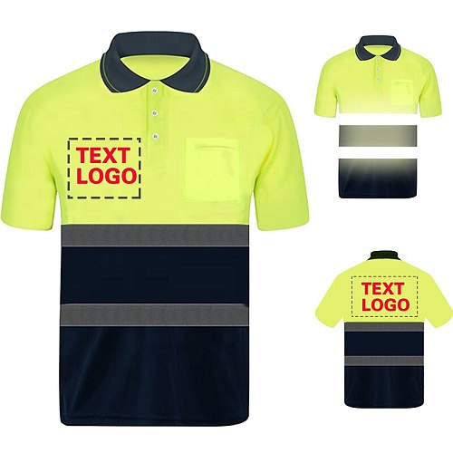 Safety Polo Shirt Custom Logo Work Uniform Motorcycle Cycling Sports Outdoor Reflective Clothing