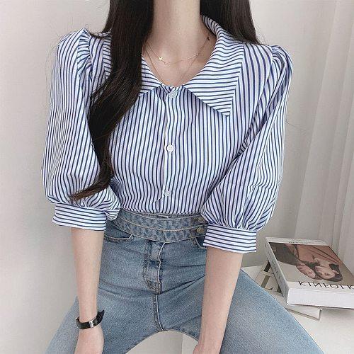 KUSAHIKI Causal Half Puff Sleeve Stripe Blouse Women Turn-down Collar Korean Chic Shirts 2021 New Top Blusas Camisas Mujer 6J275