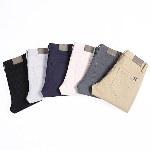 Classic 6 Color Casual Pants Men Spring Autumn New Business Fashion Comfortable Stretch Cotton Elastic Straigh Jeans Trousers