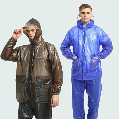 Motorcycle Rider Raincoat PVC Outdoor Split Set Poncho Fashion Adult Motorbike walking Bike Electric Vehicle Rain-Proof Cloth