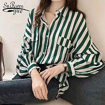 Fashion Womens Tops And Blouses 2021 Elegant Blouse Women Striped Blouse Shirt Long Sleeve Women Shirts Plus Size Tops 1728 50