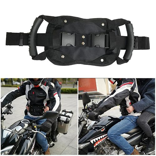 Motorcycle Passenger Safety Belt Rear Seat Grab Grip Handle Belly Strap Black Armrest Protective Gears Accessories