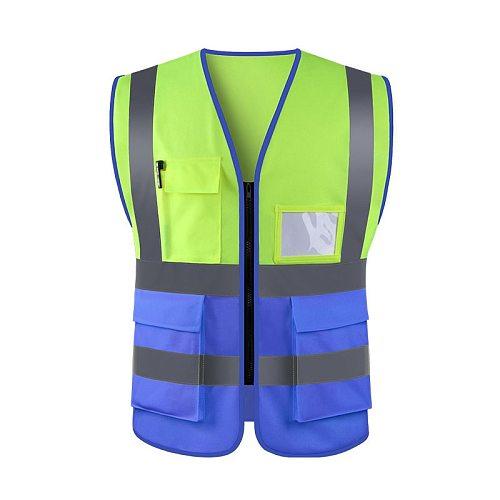 Motorcycle High Visibility Reflective Safety Vest Safety Clothing Work Reflective Vest Multi Pockets Workwear Waistcoat Men