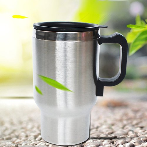 12V Steel Thermos Heating Cup Portable Car Auto Adapter Heated Kettle Travel 500ml Essential Accessories