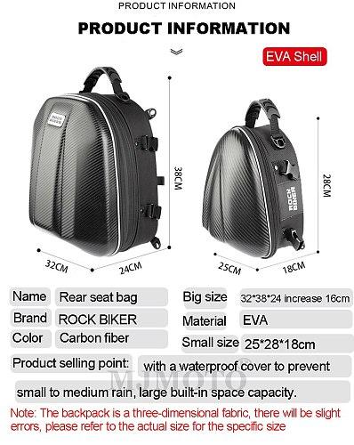 ROCK BIKER 2020 New Motorcycle Tail Bag Black Rear Seat Saddle Bags High Capacity Waterproof Helmet Bag Motorbike Back Seat Pack