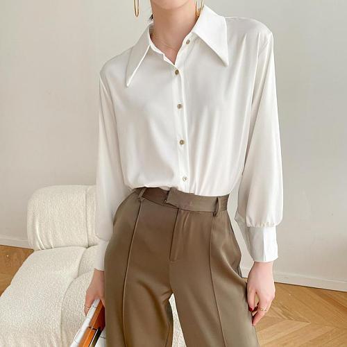 Tonngirls Vintage Women Shirt And Blouse Long Sleeve Chiffon Shirt White Turn-dowm Tops Female Korean Style Spring Summer 2021