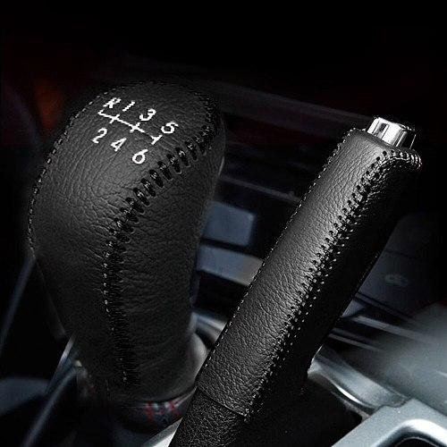 For Hyundai Creta ix25 2017 2018 2019 Cow Leather Car Handbrake Grips Gear Head Shift Knob Cover Case Car Interior Accessories