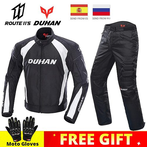 DUHAN Motorcycle Jackets Motocross Off-Road Racing Jacket Motorcycle Protection Moto Jacket Motorbike Windproof Protective Gear