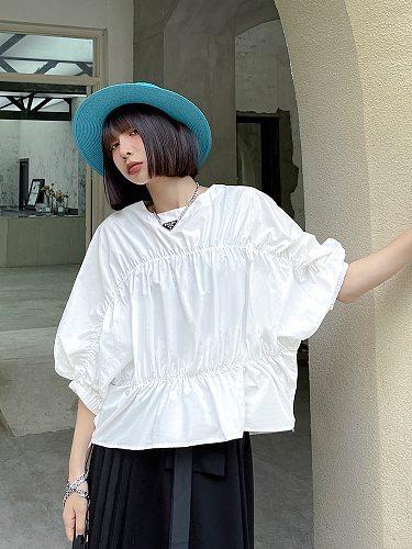 XUXI Women Five-point Sleeve Shirt Fashion Folds Thin Short Top Blouses Summer 2021 E1959