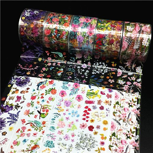 100m/roll Flower Nail Foils for Nails Transfer Paper Sticker Marble Floral Manicure Set Snowflake Wraps DIY Nail Decorations