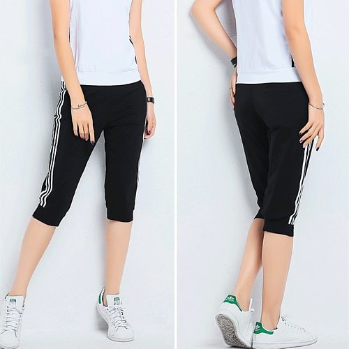 Joggers Women Sweatpants 3/4 Summer Capris Pants Side Striped Elastic High Waist Sport Casual Calf Length Trousers Plus Size Y2K