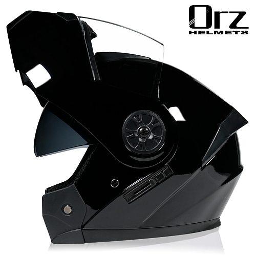 ORZ-161 Modular Flip Motorcycle Helmet Motocicleta Casco Double Sunshade Motorcycle Racing Helmet S M L XL Size DOT Abs 1.3kg