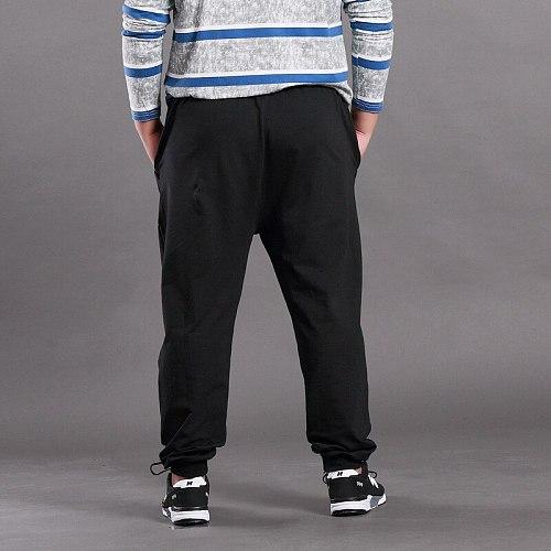 Men Big Size Solid Sweatpants Spring Elastic Narrow Feet Stretch Pants Loose Plus Size Casual Cotton Jogger Trousers 5XL 6XL 7XL