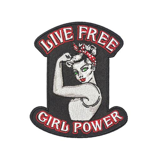 Live Free Girl Power Embroidery Iron on Patches for Clothing DIY Motorcycle Biker Vest Applique Customized Lady Rider Accessory