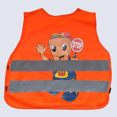 Cartoon Kids reflective safety vest school children training breathable vest adjustable elastic side custom printing vest