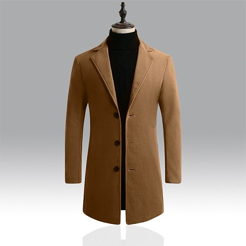 2020 Men Wool Blends Coats Autumn Winter New Solid Color High Quality Men's Wool Jacket Luxurious Brand Clothing