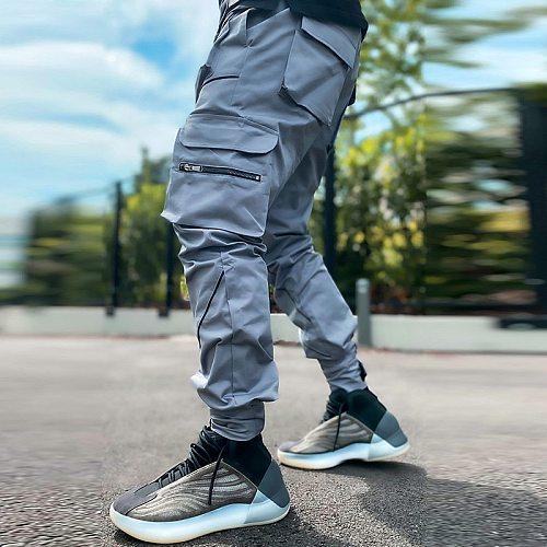 Men's Joggers Cargo Pants Gym Fitness Sweatpants Overalls Men Reflective Streetwear Fashions Sport Hip Hop Casual Trousers