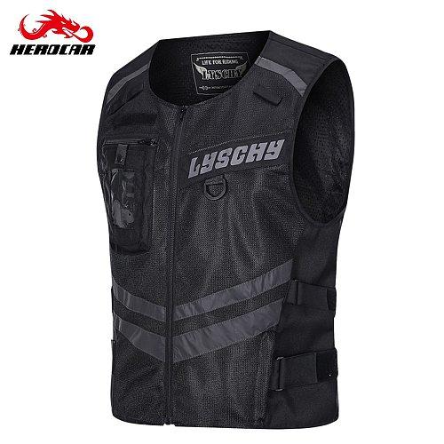 LYSCHY LED Light Motorcycle Reflective Vest Protective Gear Riding Safety Vest Racing Sleeveless Motorbike Jacket Moto Clothing
