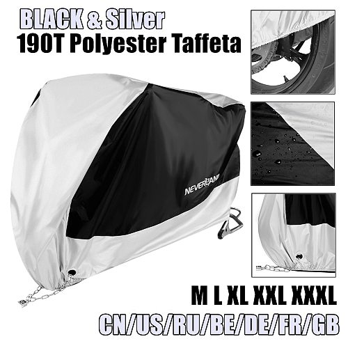 Black Silver 190T Motorcycle Cover Universal Outdoor Uv Protector All Season Waterproof Bike Rain Dustproof Motor Scooter Cover