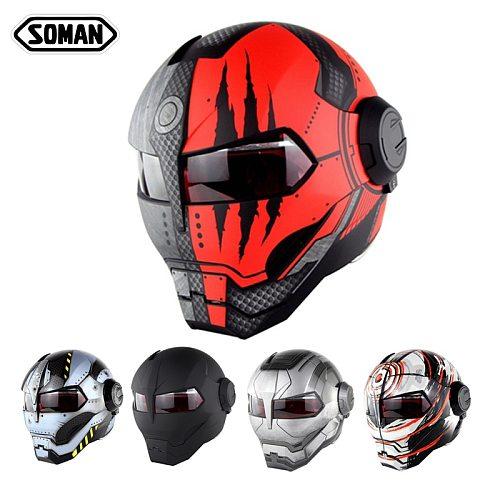 SOMAN Iron Man Helmet Flip Up Motorcycle Helmet Robot Style Motor Bike Casco Freak Casque DOT Approval SM515 Cool Helmets 515R