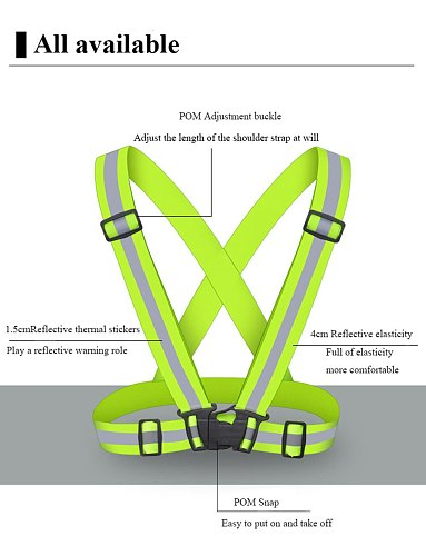 high visibility vest Straps Night Work Security Running Cycling Safety Reflective Vest High Visibility Reflective Safety Elastic