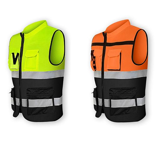 Multi-pockets High Visibility Zipper Front Safety Vest with Reflective Strips Bicycle and Motorcycle Riding Multipurpose W91F