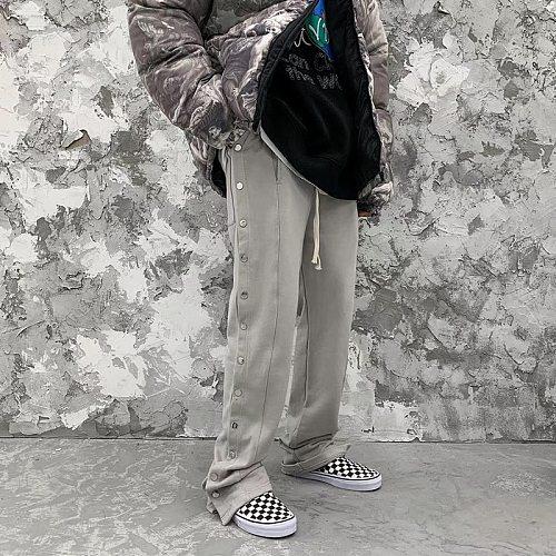 Double Side Button Jogger Sweatpants Men Elastic Wasit Streetwear Loose Casual Hip Hop Trousers Wide Leg Harajuku Cargo Pants