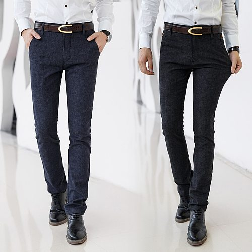 2020 New Classic Style Men's Casual Pants Business Fashion Black Blue Elastic Regular Fit Brand Trousers High Quality Clothes