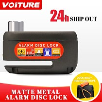 Dropshipping 110db Alarm Bicycle Lock Waterproof Motorcycle Accessories Disc Lock Anti Theft Disc Brake Lock +Warning Cable+Bag