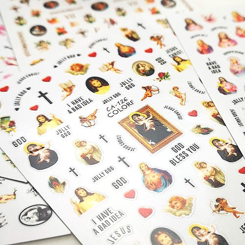 1Pc Virgin Mary Jesus Christ 3D Nail Angel Cupid Sticker Colorful Religious Series Self Adhesive Sticker Decoration
