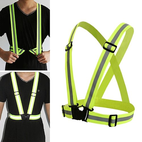 2019 New High Visibility Neon Reflective Belt Safety Vest Fit For Running Cycling Sports Auto Accessories