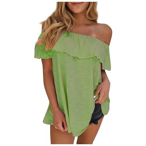 Ruffled Blouses Women 2021 Summer Off-shoulder Blouse Women Shirts Solid Plus Size 5xl Tops Loose Tunique Femme Casual Shirt