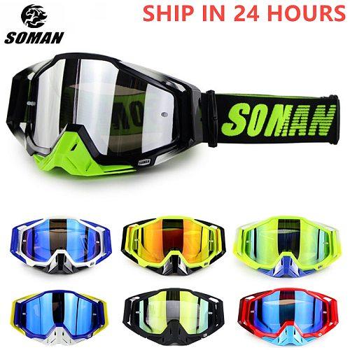 SOMAN Motocross Goggles UV Resistant Downhill Motocross Glasses Dustproof Cross Glasses Bike Goggles Off Road Motorcycle Gafas