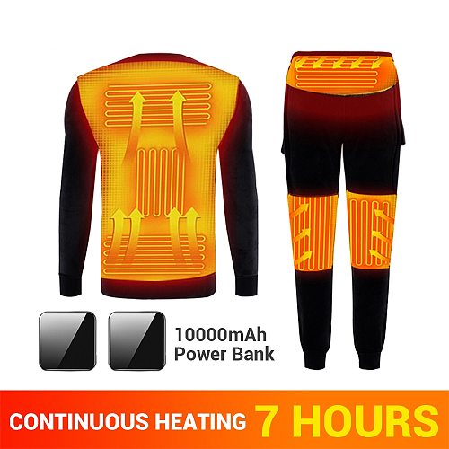 Heated Motorcycle Jacket Heating Underwear Fleece Lined Thermal Underwear Set USB Electric Heated T-Shirts&Pants With Battery