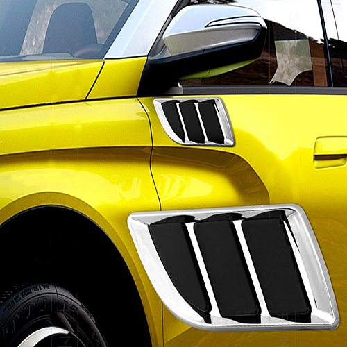 Car Side Air Flow Vent Hole Cover Fender Bonnet Vent Grille Duct Decor Car Styling Shark Gill Decoration Sticker Fake Vent