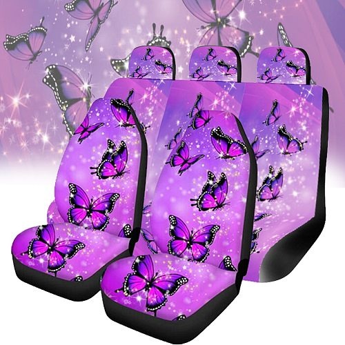 Purple Butterfly Design Cars Seat Covers Full Set Blanket Car Seat Covers, 2pc Front Seat Cover with Split Bench Cover, Full Wr