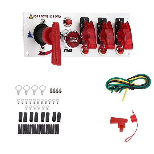 Racing Car Ignition Switch Panel with LED Toggle 12V  Ignition Switch Panel Engine Start Push Buttons Kit Set