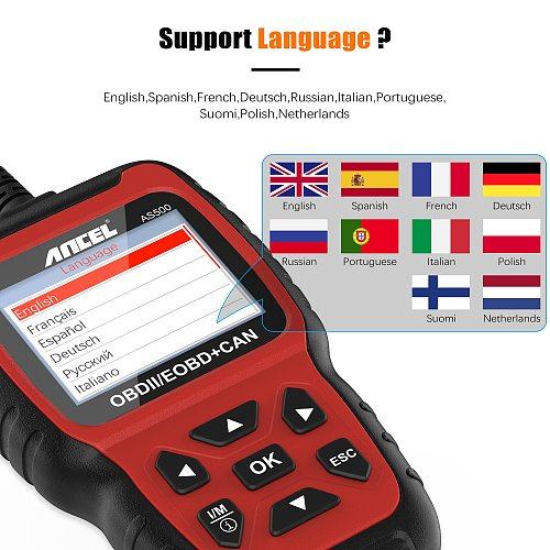 ANCEL AS500 OBD2 Diagnostic Auto Scanner Engine Code Reader IM Readiness EVAP System Free Update OBD 2 Car Diagnosis Scanner