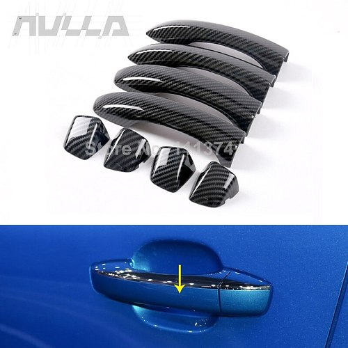 ABS Carbon Look Handle Cover Protect Cover Trim With Sticker For MG HS SUV 2019 2020 2021 Car decoration accessories