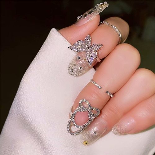 Geometric ring with fashion temperament personality trendy ring simple rhinestone butterfly index finger ring for female