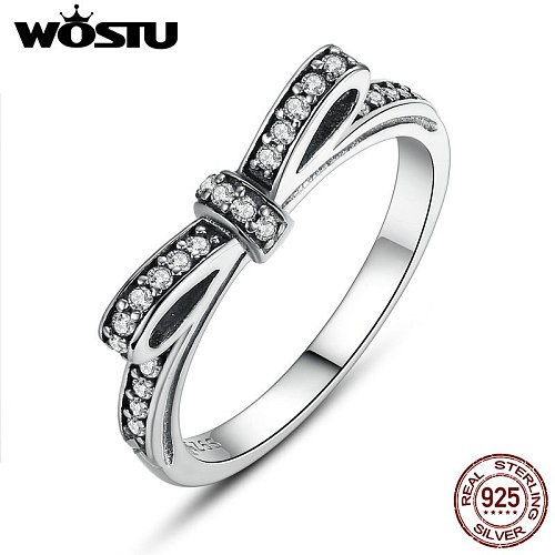 WOSTU 2021 Hot Sale Real 925 Sterling Silver Lucky Circle Finger Rings For Women Fashion Jewelry Gift Dropshipping CQR041