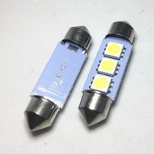4pcs Car Auto 36mm 39mm 41mm Festoon Dome LED 5050 3-SMD Festoon led White  Reading Lights Chip Light Bulbs License plate lamp