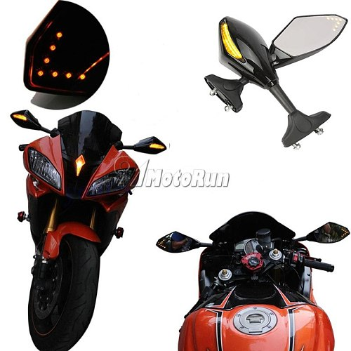 MOTORCYCLE LED TURN SIGNAL MIRRORS FOR KAWASAKI NINJA 6R 9R 650R 250R 636/YAMAAH YZF R1 R6 R6S/SUZUKI GSXR 600 750 1000 KATANA