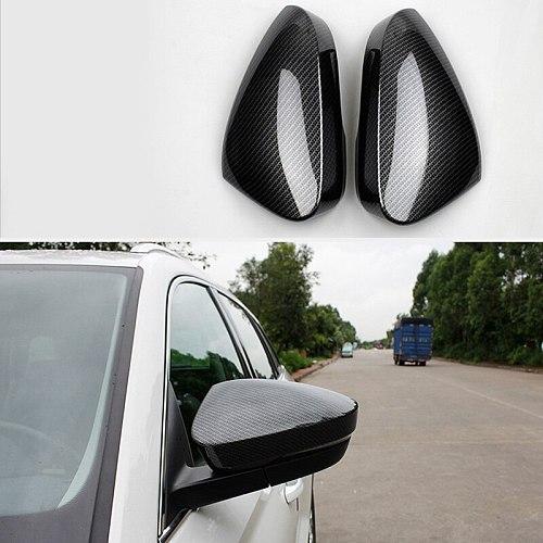 Car Rearview Cover Trims Anti-Scratch Interior Accessories Carbon Fiber for Skoda Kodiaq 2017-2019