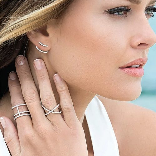 X-shaped cross RING 925 Sterling Silver Fashion temperament, simple and versatile women's leisure style