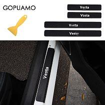 For Lada Vesta Car Scuff Plate Door Threshold Sill Stickers For Lada Vesta Auto Cover Panel Step Protector Accessories 4PS