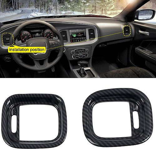 Carbon Fiber Car Interior Dashboard Side Air Conditioning Outlet Vents Decorative Cover For Dodge Charger 2015-2020 Car Styling