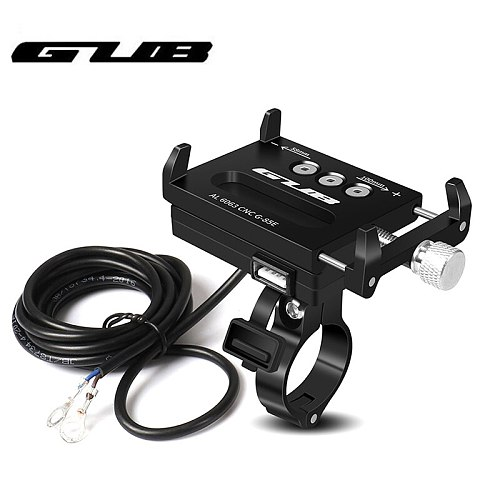 GUB Aluminum USB Rechargeable Motorcycle Bike Phone Mount With Power Conversion Function Support GPS For 4.0-6.7 inch Phone
