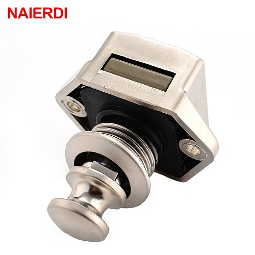 NAIERDI 10PCS Camper Car Push Lock 20mm RV Caravan Boat Motor Home Cabinet Drawer Latch Button Locks For Furniture Hardware